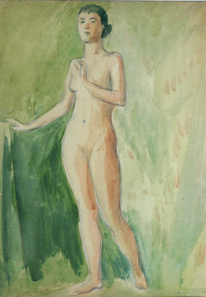 Naked female against the green.