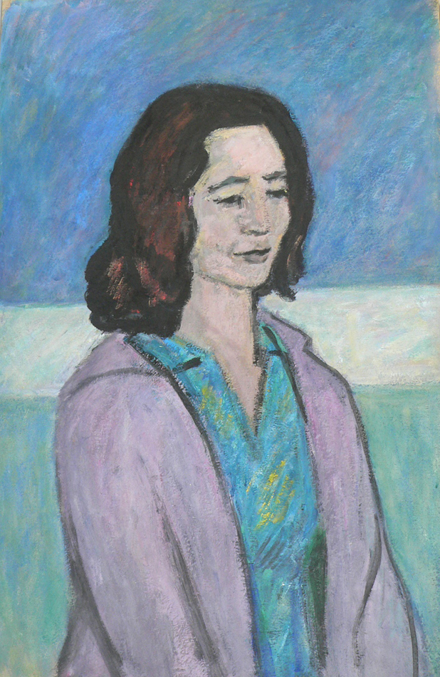 Woman in purple jacket.