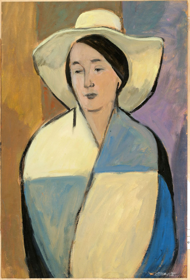 Portrait of the wife in white hat.
