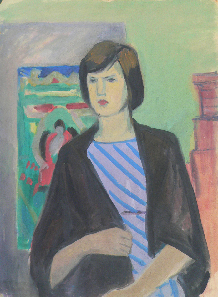 Girl in a black shawl.