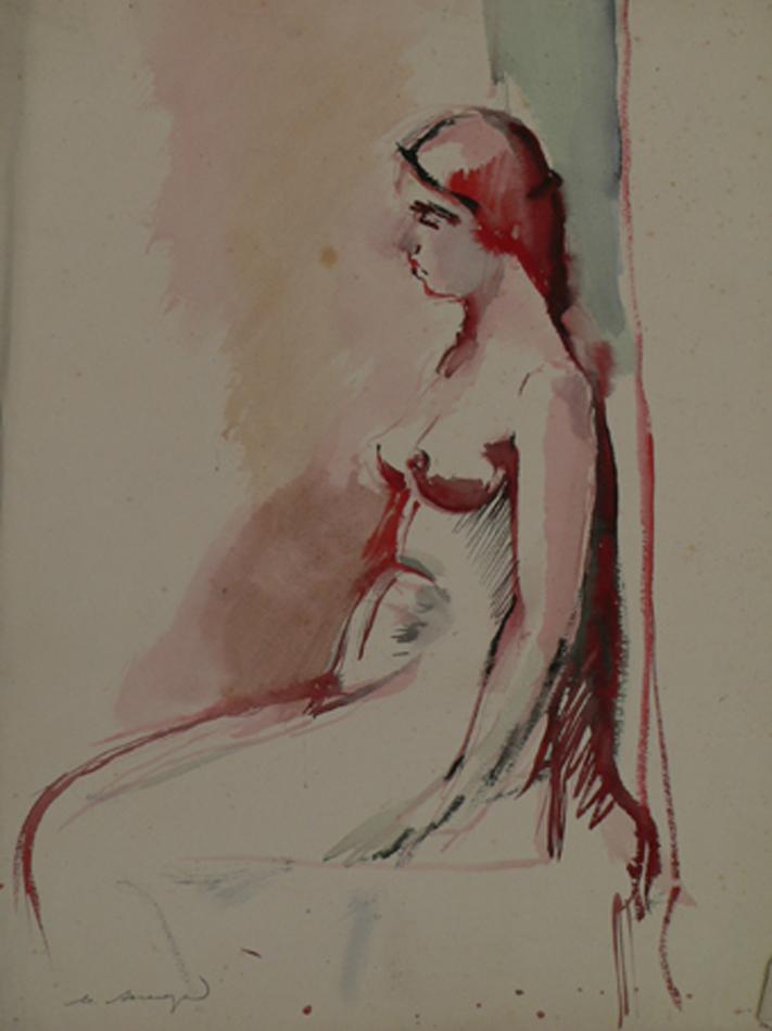 Sitting naked female model.