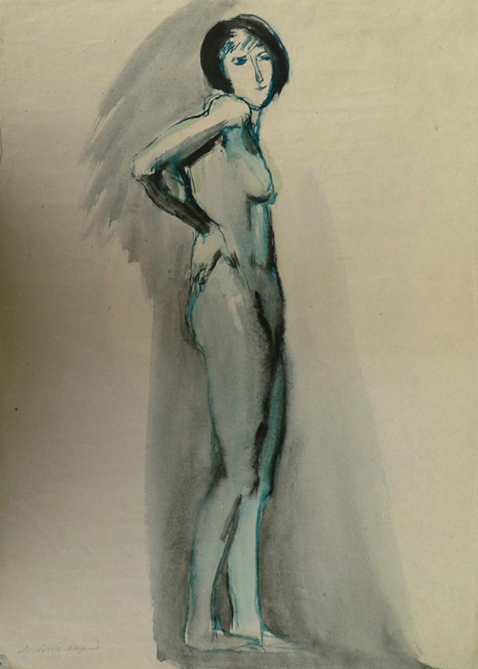 Standing naked model,