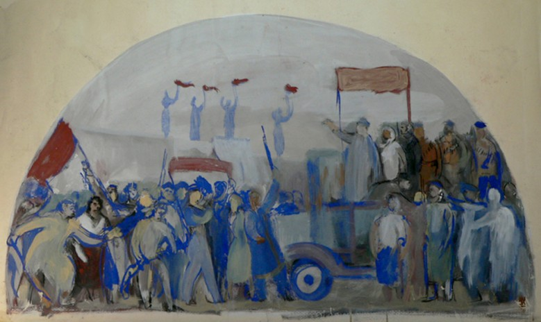 Demonstration. Wall painting sketch of the Government House in Minsk.