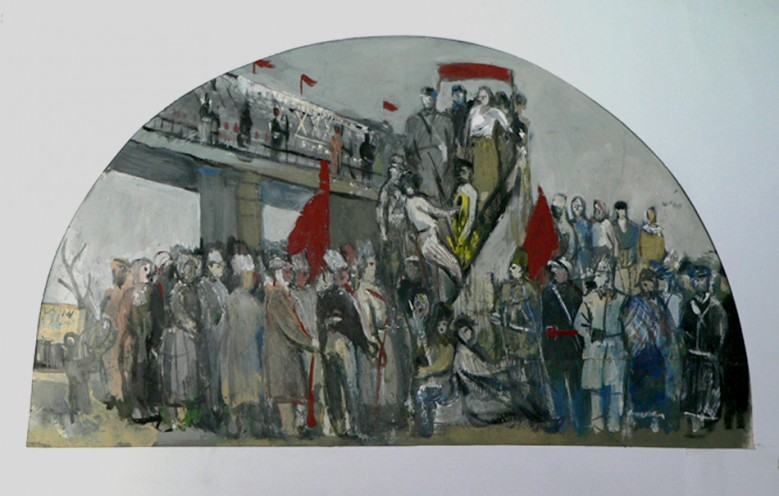 Political meeting. Wall painting sketch of the Government House in Minsk.