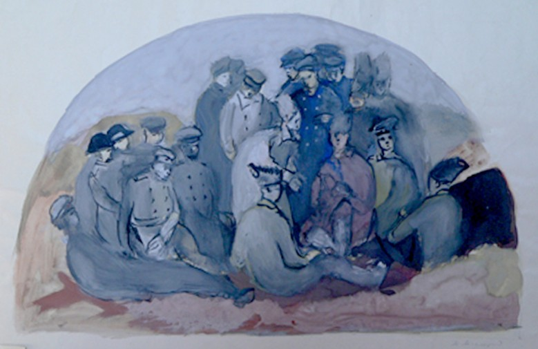 Ovet the trenches. Wall painting sketch of the Government House in Minsk.