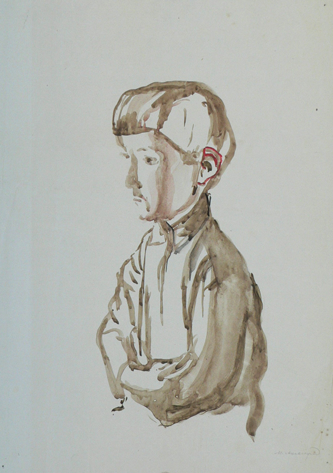 Boy with red ear.