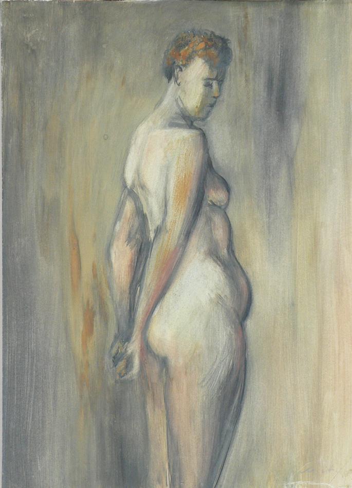 Female model standing  side ways.