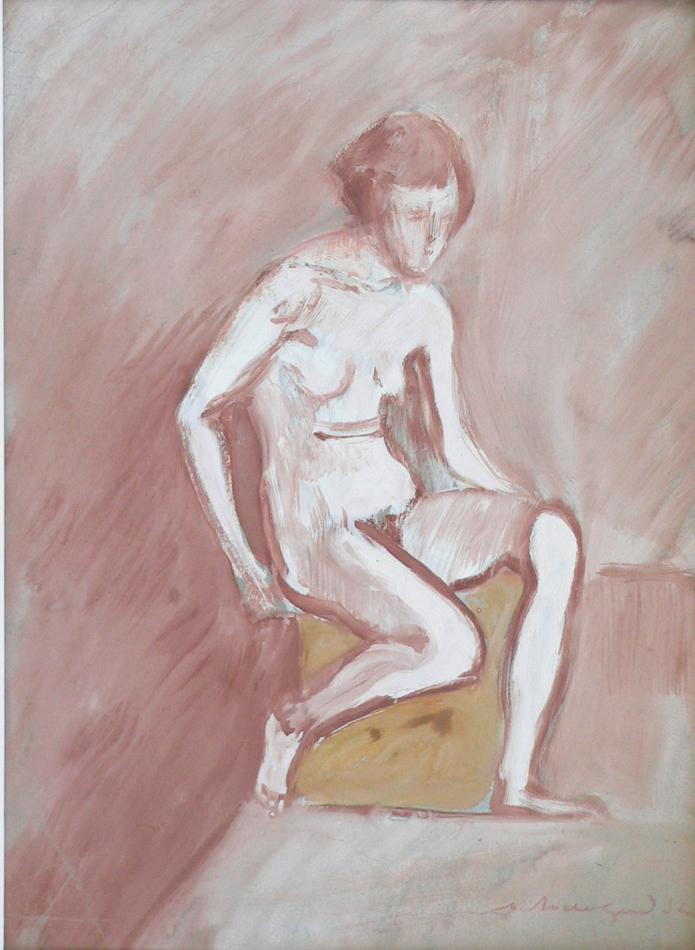 Naked female model sitting on the platform.