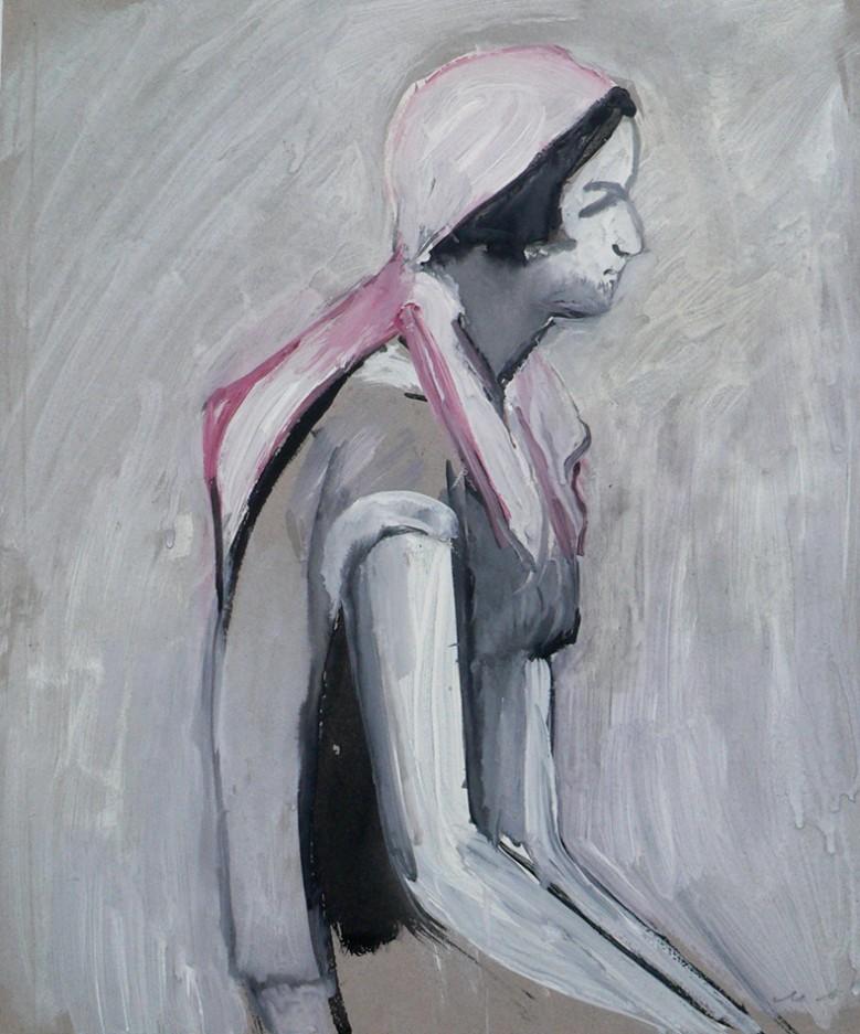 Девушка в розовой косынке.