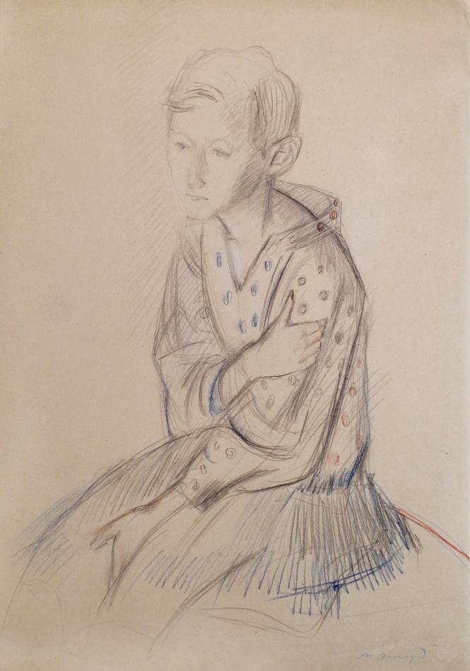 Девочка в платье в горошек.